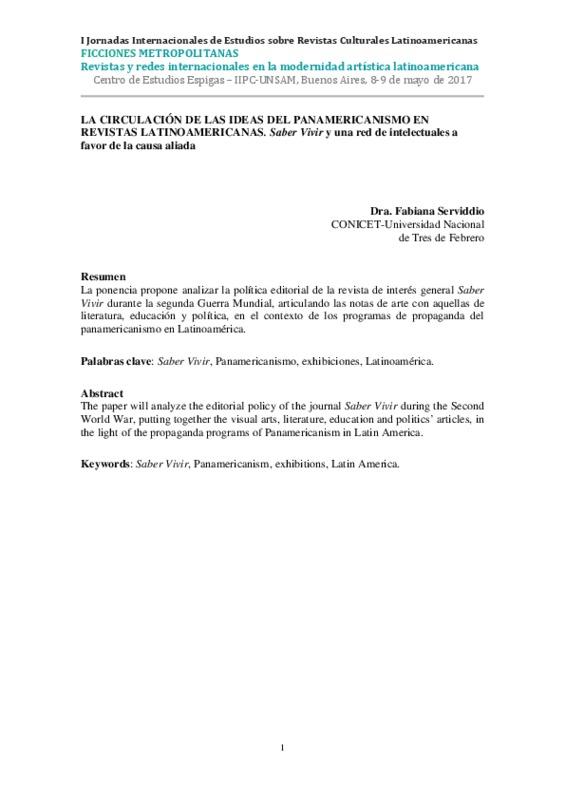 LA CIRCULACIÓN DE LAS IDEAS DEL PANAMERICANISMO EN REVISTAS LATINOAMERICANAS. Saber Vivir y una red de intelectuales a favor de la causa aliada