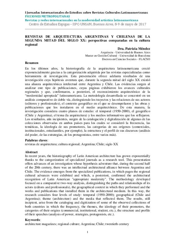 REVISTAS DE ARQUITECTURA ARGENTINAS Y CHILENAS DE LA SEGUNDA MITAD DEL SIGLO XX: perspectivas comparadas en la cultura regional
